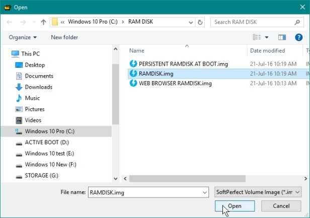 SOFTPERFECT RAMDISK CREATE A RAMDISK WHILE WILL BE MANUALLY MOUNTED, SAVED AND UNMOUNTED_21-07-2016_10-20-30