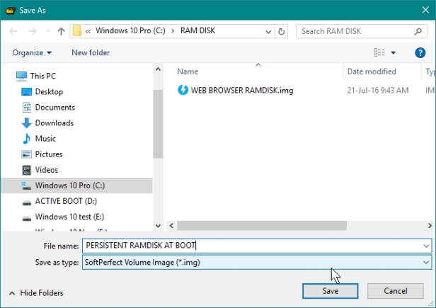 SOFTPERFECT RAMDISK CREATE PERSISTENT RAMDISK WHICH WILL BE MOUNTED AT BOOT UP_21-07-2016_09-47-52