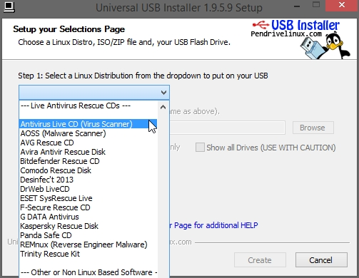 UNIVERSAL USB CREATOR ANTIVIRUS RESCUE CD