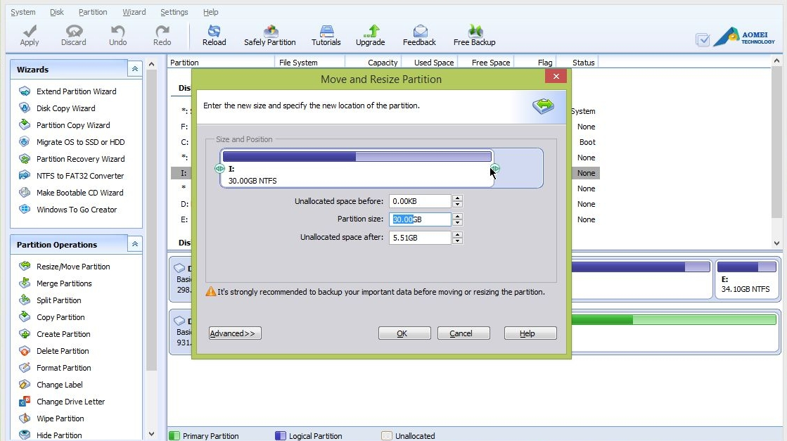 how to use the aomei partition program