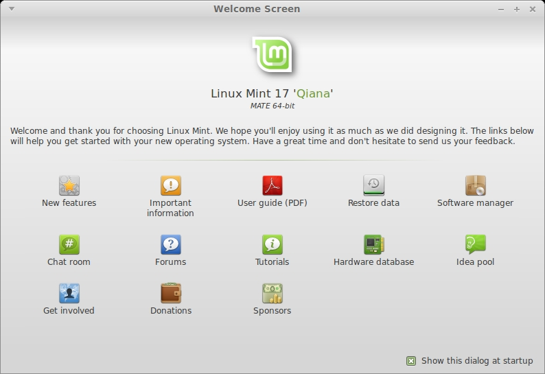 LINUX MINT 17 MATE Welcome Screen_001