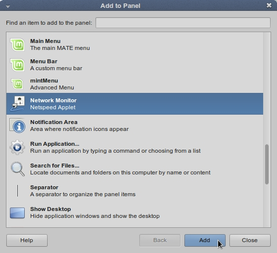 LINUX MINT 17 MATE Add to Panel_041