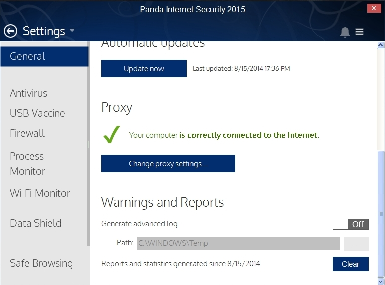 PANDA INTERNET SECURITY 2015 SETTINGS_010_15082014_175015