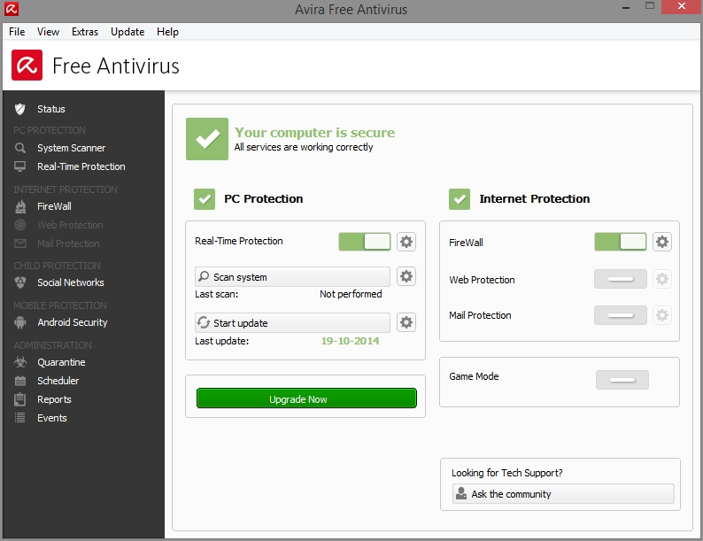 AVIRA FREE ANTIVIRUS 2015 INTERFACE_19102014_080456