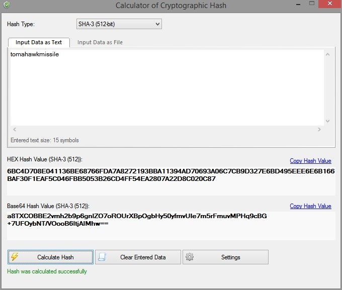 Create lengthy password using cryptographics hash software