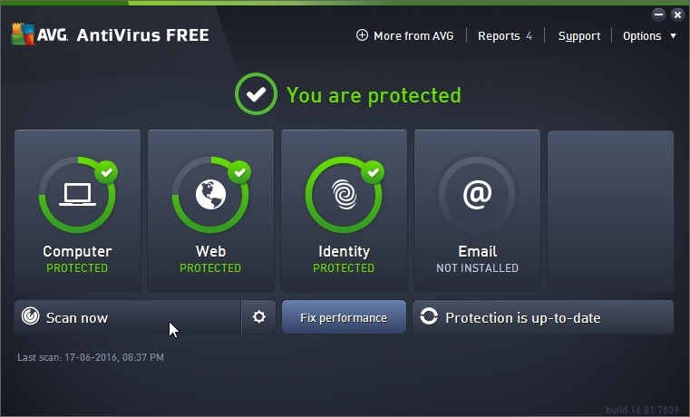 AVG FREE ANTIVIRUS 2016 FIRST TIME SCAN_17-06-2016_20-38-02