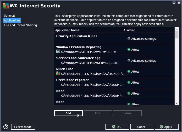 AVG INTERNET SECURITY 2016 BLOCK INTERNET ACCESS TO AN APPLICATION_18-06-2016_20-25-27