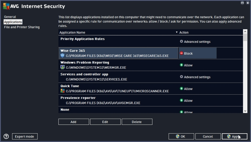 AVG INTERNET SECURITY 2016 BLOCK INTERNET ACCESS TO AN APPLICATION_18-06-2016_20-26-59