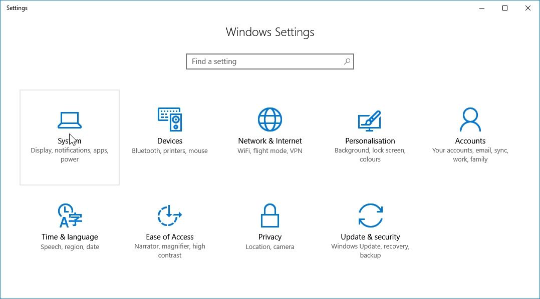 pc settings windows 10