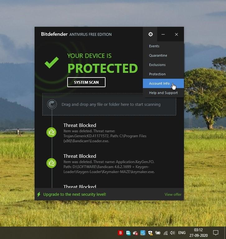 Bitdefender Free Antivirus Account Info_27092020_031244