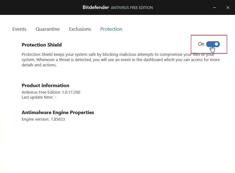 Bitdefender Free Antivirus disable protection_27092020_024210