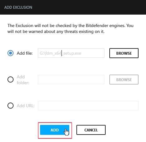 Bitdefender Free Antivirus Exclusion_27092020_030659