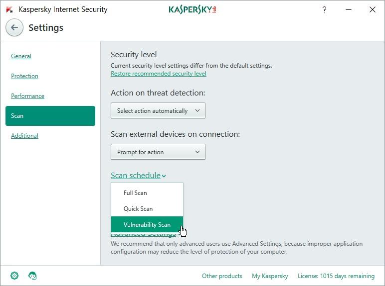 how to run vulnerability scan kaspersky 2017