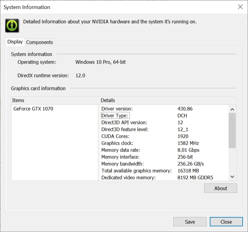 Nvidia Control Panel – Settings for a high-end graphics card